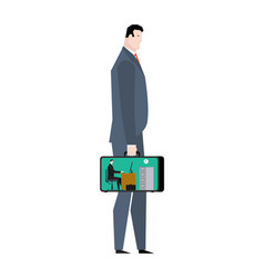 office in case mobile workplace in suitcase vector image