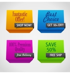 Origami polygonal sale banners vector