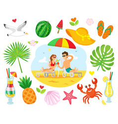 people lying on chaise lounge on beach vector image