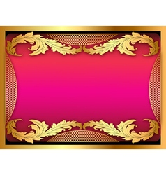 pink background with gold ornament of leaves vector image