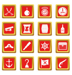 Pirate icons set red vector