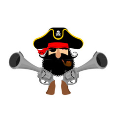 Pirate logo head of buccaneer and gun pirate vector