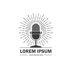 podcast radio logo with retro microphone vector image