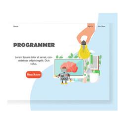 programmer website landing page design vector image