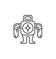 robot concept minimal icon in outline style vector image