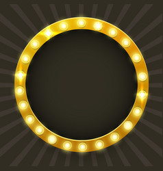 round frame with glowing shiny light bulbs vector image