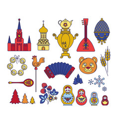 Russian moscow set icons thin line symbols vector