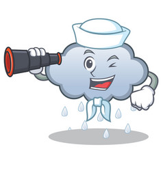 sailor with binocular rain cloud character cartoon vector image