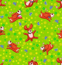 Seamless background happy puppy vector