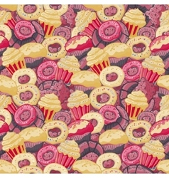 Seamless pattern with hand drawn pastries vector
