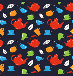 seamless pattern with teapot and tea cups on black vector image