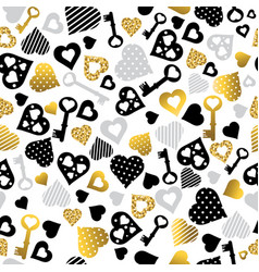 seamless valentines pattern with golden and black vector image
