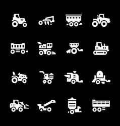 Set icons of agricultural machinery vector image