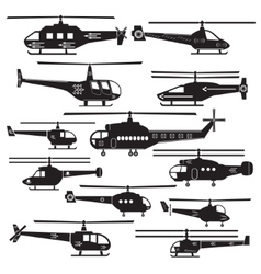 Set icons of helicopters isolated on white vector