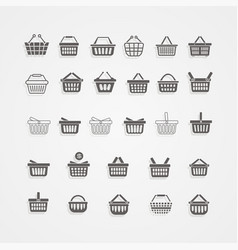 set of black shopping basket vector image