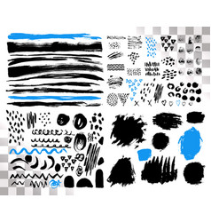 Set of brush acrylic strokes black blue vector
