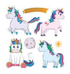 Set of cute unicorns cartoons vector