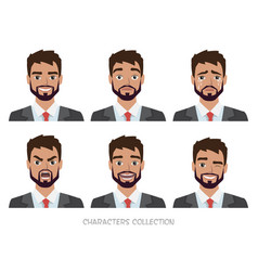 Set of emotions for business manyoung male in a vector