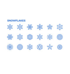 snowflake icons crystals snow for the vector image