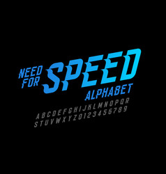 Speed style font need for speed alphabet letters vector