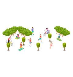 sports people isometric men women train on nature vector image