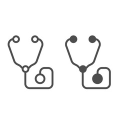 Stethoscope line and glyph icon medical equipment vector