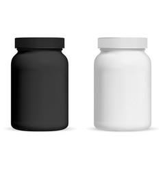 Supplement bottle pill package mockup vitamin vector