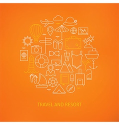 Thin Line Summer Holiday Travel Icons Set Circle vector