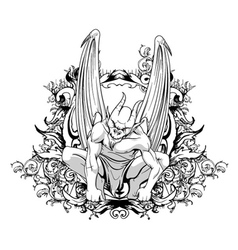 Vintage t-shirt design with gargoyle vector