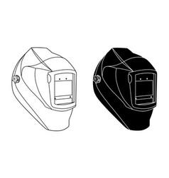 Welding helmet black and white vector