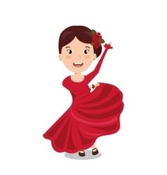 Woman cartoon dancer flamenco design vector