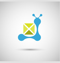 blue snail on a white background vector image