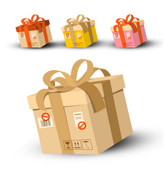 cardboard parcels set with address and stamp vector image vector image