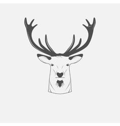 Deer head in black and white vector image