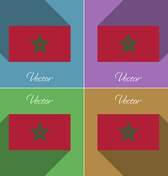 Flags Morocco Set of colors flat design and long vector image vector image
