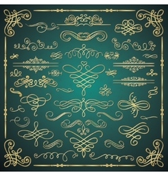 Golden Luxury Glossy Vintage Swirls vector image