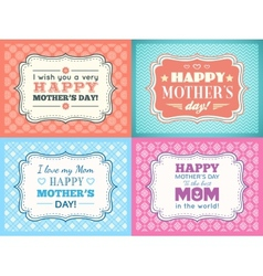Happy Mothers day card set Typography letter font vector image