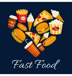 I love fast food flat icons in heart shape vector