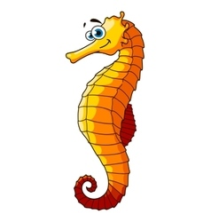 Yellow underwater seahorse cartoon character vector image