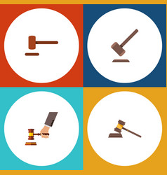 flat icon hammer set of court defense crime and vector image vector image