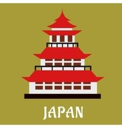 Japanese traditional pagoda flat icon vector image vector image