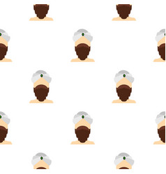 man with beard and mustache wearing turban pattern vector image