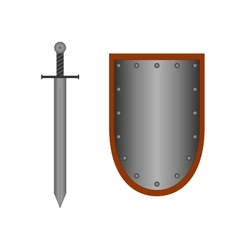 Set of sign shield and sword silver 1405 vector image vector image