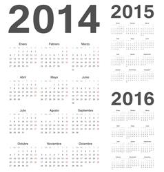 Spanish 2014 2015 2016 year calendars vector image vector image