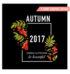 autumn floral graphic with rowanberry vector image vector image