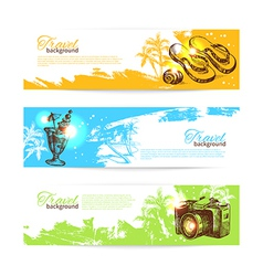 Banner set of travel colorful tropical splash vector image vector image