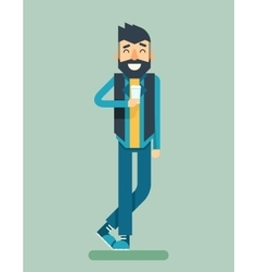 Happy Smiling Adult Man Geek Hipster Character vector image