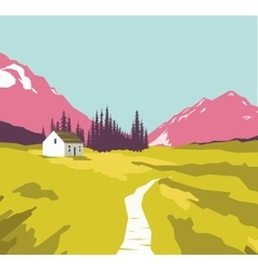 Mountain landscape with a lonely house vector image vector image