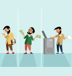 three hipster in situation vector image vector image