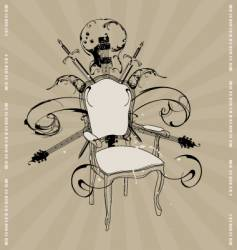 chair with a guitar vector image